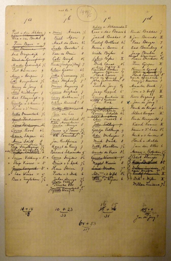 Klassen 1-a en 1b in schooljaar 1944-1945